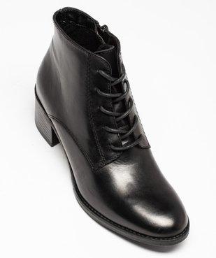 Boots femme à talon dessus cuir uni fermeture lacets vue5 - GEMO(URBAIN) - GEMO