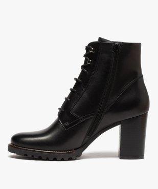 Boots femme à talon carré et dessus cuir façon godillots vue3 - GEMO(URBAIN) - GEMO