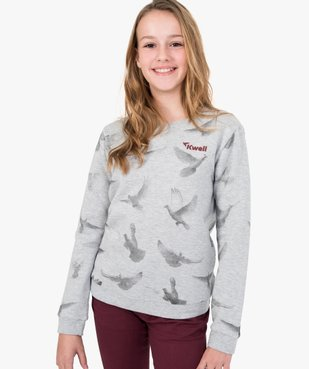Sweat fille molletonné avec motifs colombes - Kwell vue1 - KWELL - GEMO