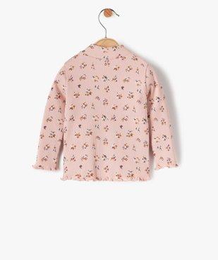 Tee-shirt bébé fille en maille côtelée à motifs fleuris vue3 - GEMO C4G BEBE - GEMO
