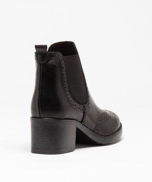 Boots femme à talon dessus cuir uni avec perforations vue4 - GEMO(URBAIN) - GEMO