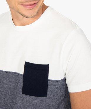 Tee-shirt homme à manches courtes bicolore uni/rayé vue2 - GEMO (HOMME) - GEMO