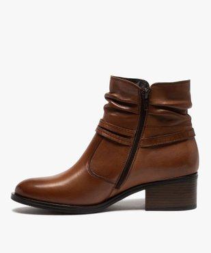 Boots femme à talon large et tige plissée en cuir vue3 - GEMO (CASUAL) - GEMO