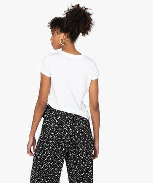 Tee-shirt femme à manches courtes et col rond vue3 - GEMO C4G FEMME - GEMO