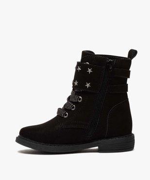 Boots fille zippés en suédine unie avec étoiles métallisées vue4 - GEMO (ENFANT) - GEMO