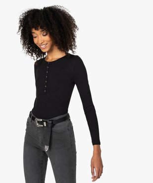 Tee-shirt femme à manches longues en maille côtelée vue1 - GEMO(FEMME PAP) - GEMO