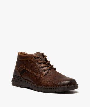 Boots homme à lacets dessus cuir uni  vue2 - GEMO (CASUAL) - GEMO