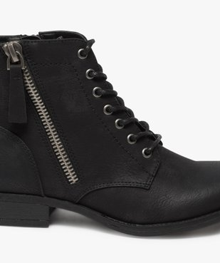 Boots femme style rangers à zip vue6 - GEMO (CASUAL) - GEMO