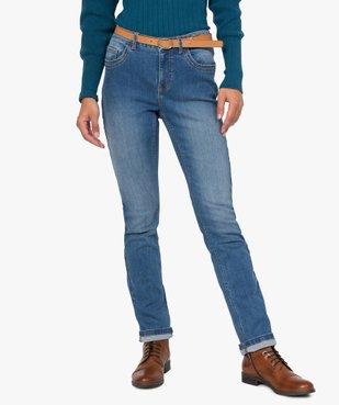 Jean femme regular taille normale délavé avec ceinture vue1 - GEMO(FEMME PAP) - GEMO
