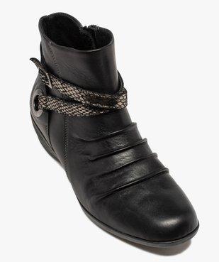 Boots femme confort à talon compensé dessus drapé vue5 - GEMO (CASUAL) - GEMO