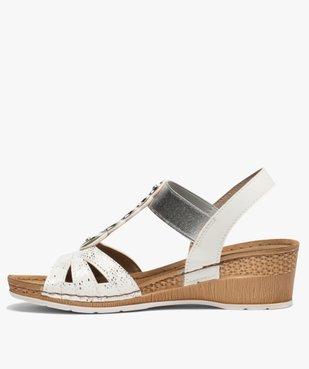 Sandales femme à enfiler avec talon compensé vue3 - GEMO(URBAIN) - GEMO