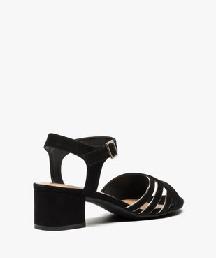 Sandales femme en suédine à petit talon carré vue4 - GEMO(URBAIN) - GEMO