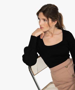 Pull femme en maille côtelée avec grand col carré vue1 - GEMO(FEMME PAP) - GEMO