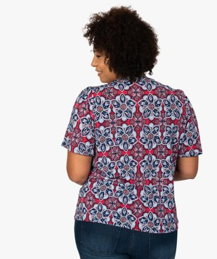 Tee-shirt femme  à motifs fleuris et col V smocké vue3 - GEMO (G TAILLE) - GEMO