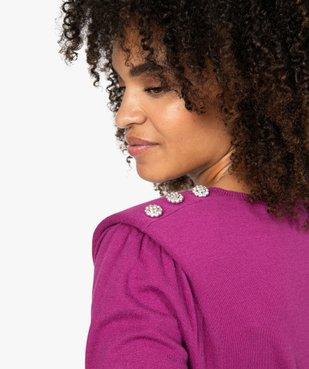 Pull femme fin à col V et boutons en strass vue2 - GEMO(FEMME PAP) - GEMO