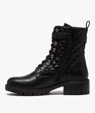 Boots femme unies à semelle crantée et tige matelassée vue3 - GEMO (CASUAL) - GEMO