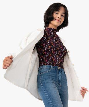 Tee-shirt fille à manches longues avec col montant  vue1 - GEMO (JUNIOR) - GEMO