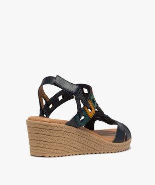Sandales femme à talon compensé et brides en cuir colorées vue4 - GEMO(URBAIN) - GEMO