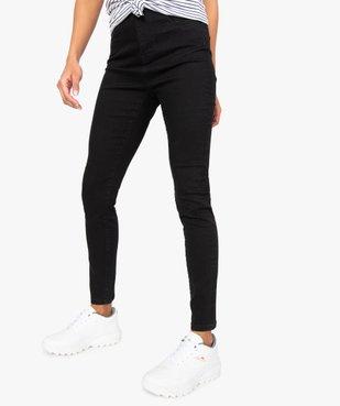 Pantalon femme en toile extensible coupe slim taille haute vue1 - GEMO (JEAN) - GEMO