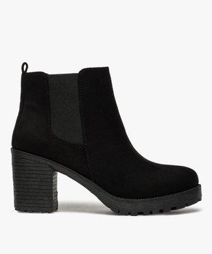 Boots femme à talon et semelle crantée en suédine unie vue1 - GEMO(URBAIN) - GEMO