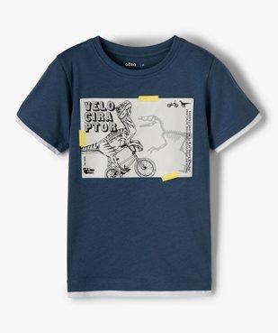 Tee-shirt garçon effet 2 en 1 avec large motif dinosaure vue1 - GEMO C4G GARCON - GEMO