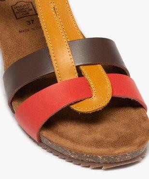 Sandales femme à brides en cuir colorées et talon compensé vue6 - GEMO (CASUAL) - GEMO