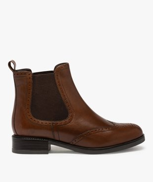 Boots femme style chelsea unis à bout fleuri vue1 - GEMO (CASUAL) - GEMO
