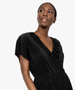 Robe femme plissée avec col cache-cœur  vue2 - GEMO(FEMME PAP) - GEMO