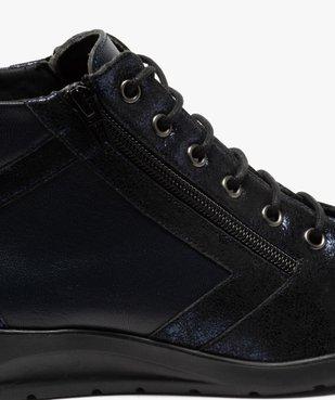 Boots femme confort zippées à talon compensé dessus cuir vue6 - GEMO (CONFORT) - GEMO