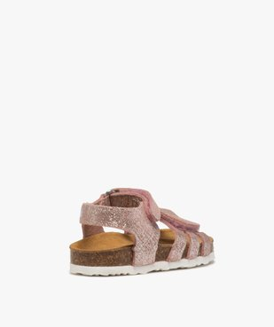 Sandales bébé fille à scratch et brides en cuir métallisées vue4 - GEMO(BEBE DEBT) - GEMO
