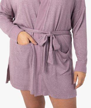 Veste d'intérieur femme en maille douce avec ceinture à nouer vue2 - GEMO(HOMWR FEM) - GEMO
