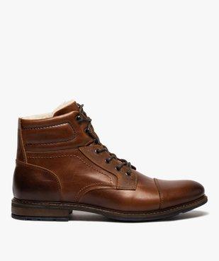 Boots homme à lacets dessus cuir et intérieur polaire vue1 - GEMO (CASUAL) - GEMO