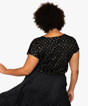 Tee-shirt femme à manches courtes à motifs vue3 - GEMO (G TAILLE) - GEMO