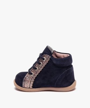 Chaussures premiers pas fille en cuir suédé et paillettes vue3 - Nikesneakers(BEBE DEBT) - Nikesneakers