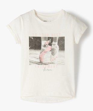 Tee-shirt fille à manches courtes avec motif en relief vue1 - GEMO C4G FILLE - GEMO