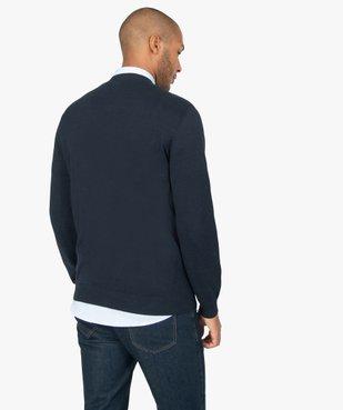 Pull homme en coton avec col V vue3 - GEMO (HOMME) - GEMO