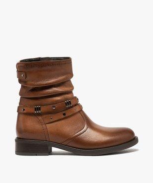 Boots fille unies dessus cuir drapé et brides fantaisie vue1 - GEMO (ENFANT) - GEMO