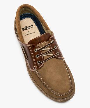 Chaussures bateau homme à lacets dessus cuir vue5 - GEMO (CONFORT) - GEMO