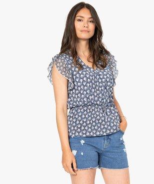 Tee-shirt femme cintré à décolleté cache-cœur vue2 - GEMO(FEMME PAP) - GEMO