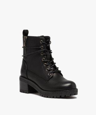 Boots fille unies à talon et semelle crantée fermeture zip vue2 - GEMO (ENFANT) - GEMO