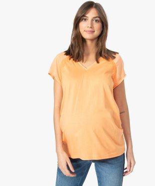 Tee-shirt de grossesse à manches courtes satinées et dentelle vue1 - GEMO (MATER) - GEMO