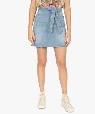 Jupe en jean femme courte avec ceinture à nouer vue1 - GEMO(FEMME PAP) - GEMO