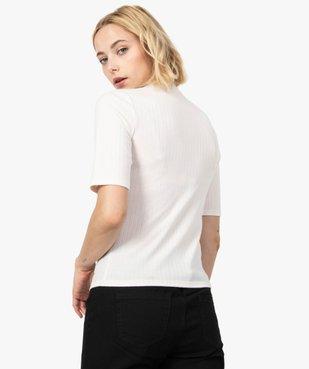 Tee-shirt femme en maille côtelée à manches courte vue3 - FOLLOW ME - GEMO