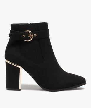 Boots femme à talon unis en suédine détails métallisés vue1 - GEMO(URBAIN) - GEMO