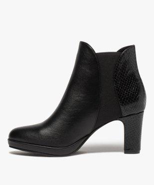 Boots femme à talon unies détails imitation serpent vue3 - GEMO(URBAIN) - GEMO