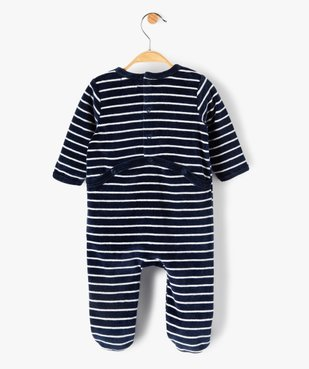 Pyjama bébé rayé en velours  avec inscription brodée vue4 - GEMO(BB COUCHE) - GEMO