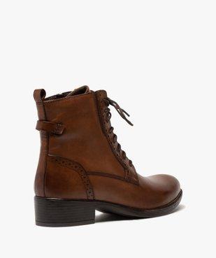 Boots femme à talon plat style derbies à lacets et zip vue4 - GEMO (CASUAL) - GEMO