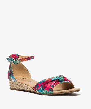 Sandales femme à petit talon compensé et dessus drapé vue2 - Nikesneakers (CASUAL) - Nikesneakers