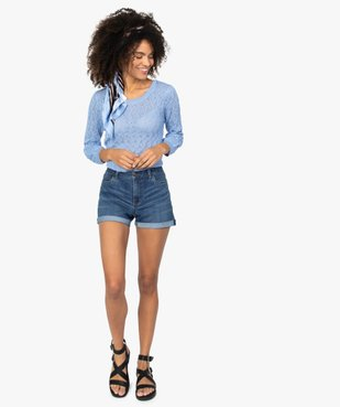 Short femme en jean avec revers cousus vue5 - GEMO(FEMME PAP) - GEMO