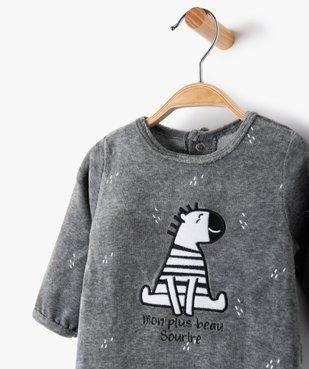 Pyjama bébé garçon en velours avec motif zèbre vue2 - GEMO(BB COUCHE) - GEMO